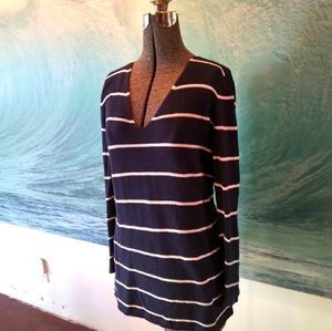 Loose fitting striped v-neck sweater